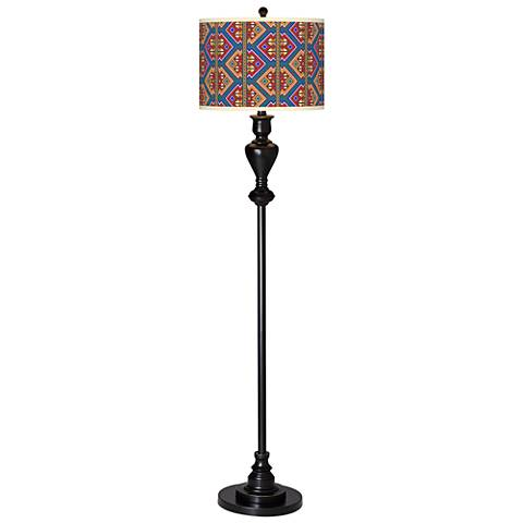 Rich Bohemian Giclee Glow Black Bronze Floor Lamp