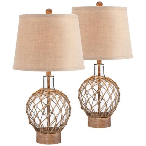 Rope and Glass Jug Table Lamp Set of 2