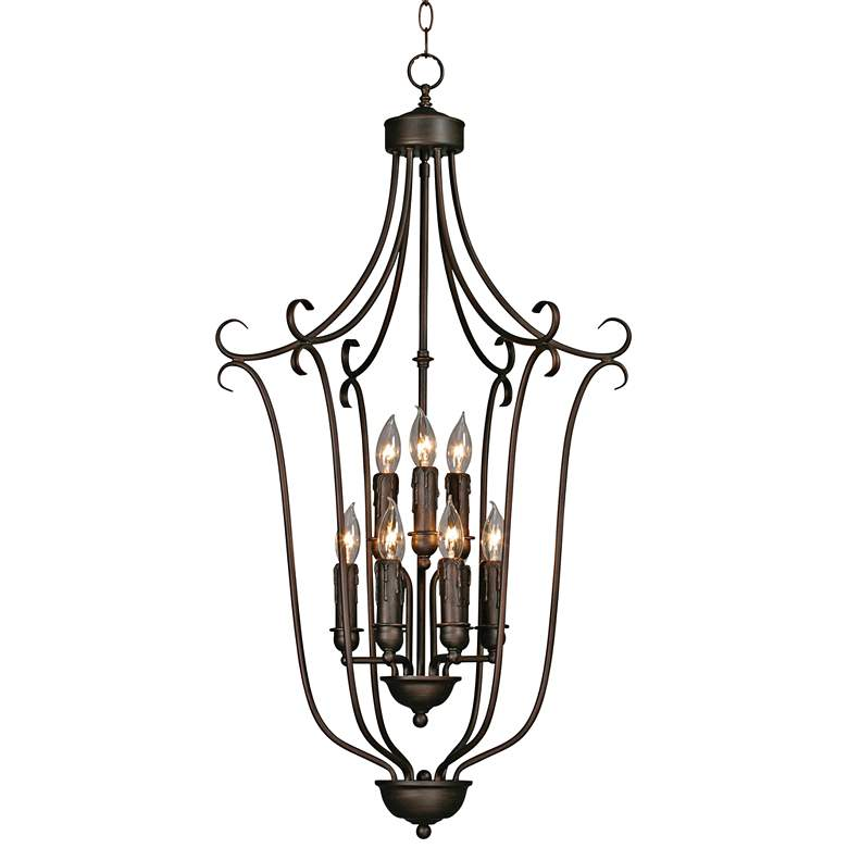 "Multi-Family 20""W Rubbed Bronze 2-Tier 9-Light Foyer Pendant"