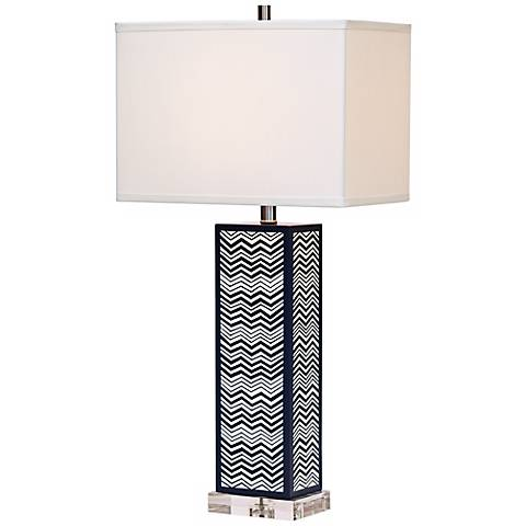 Clarendon ZigZag Hand-Painted Wood Table Lamp