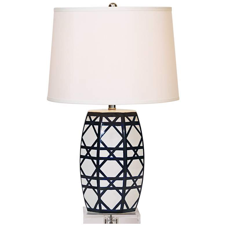 Gazebo Navy Lattice Porcelain Table Lamp