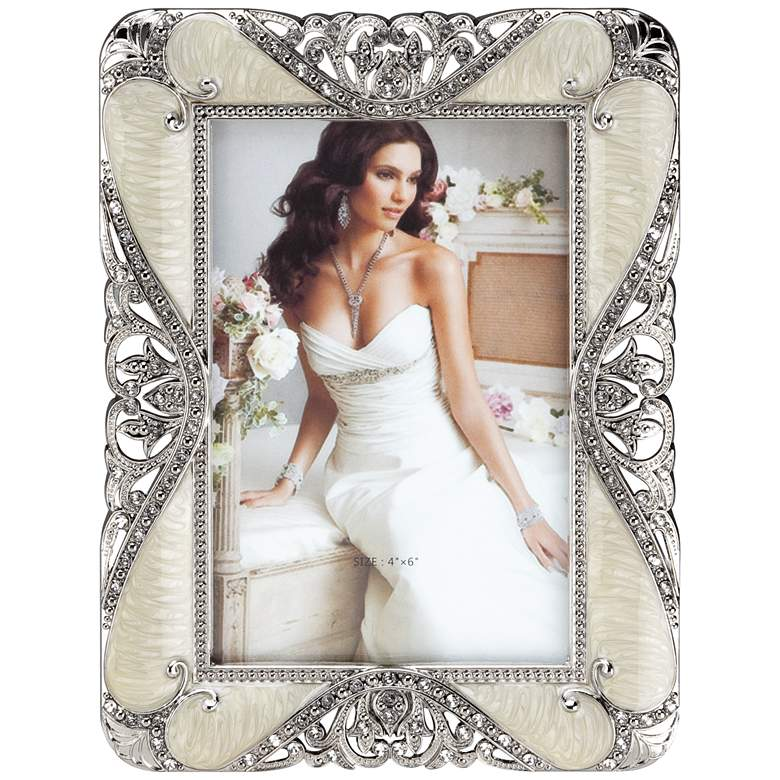 Jeweled Cream and Pewter 4x6 Rectangular Picture Frame