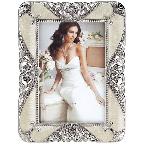 Rhinestone Jeweled Pewter 4x6 Rectangular Picture Frame