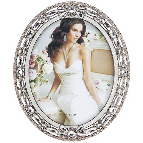 Clear Beaded Pewter 8x10 Oval Picture Frame - #X0661 | Lamps Plus