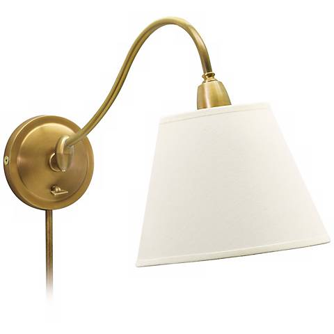 House of Troy Hyde Park Brass Finish Plug-In Wall Light