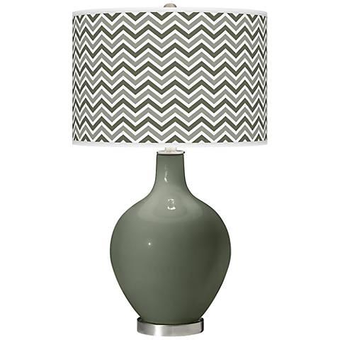 Deep Lichen Green Narrow Zig Zag Ovo Table Lamp