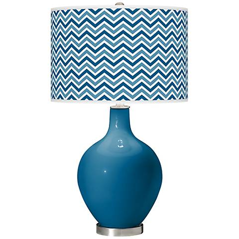 Mykonos Blue Narrow Zig Zag Ovo Table Lamp