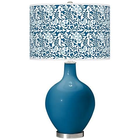 Mykonos Blue Gardenia Ovo Table Lamp