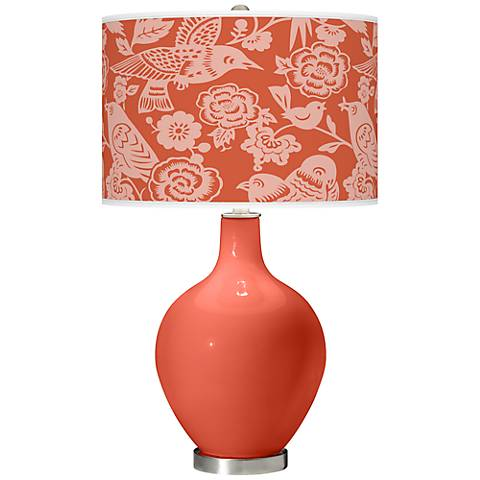 Koi Orange Ovo Table Lamp with Aviary Pattern Shade
