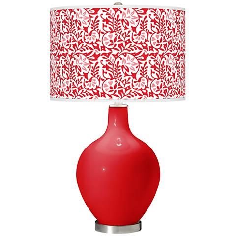 Bright Red Gardenia Ovo Table Lamp