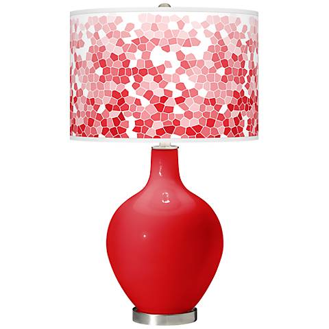 Bright Red Mosaic Giclee Ovo Table Lamp