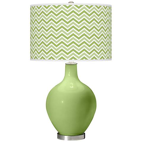 Lime Rickey Narrow Zig Zag Ovo Table Lamp