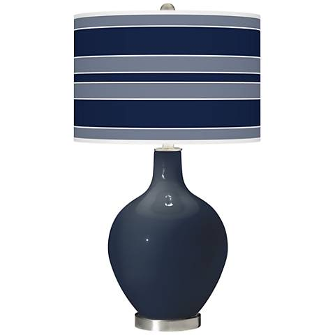 Naval Bold Stripe Ovo Glass Table Lamp