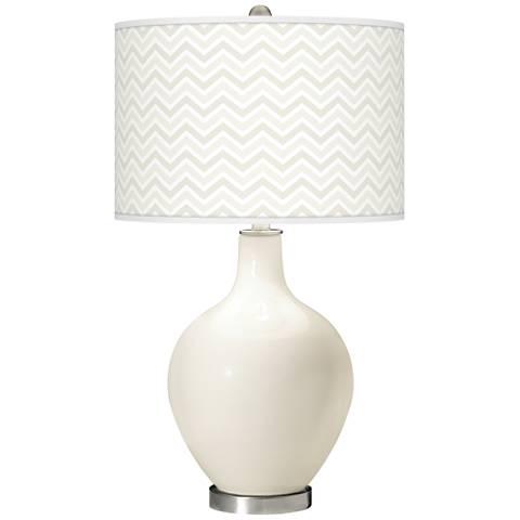West Highland White Narrow Zig Zag Ovo Glass Table Lamp