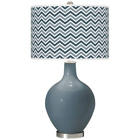 Smoky Blue Narrow Zig Zag Ovo Glass Table Lamp