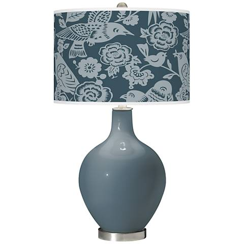 Smoky Blue Aviary Ovo Glass Table Lamp