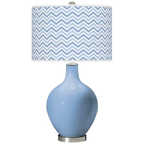 Placid Blue Narrow Zig Zag Ovo Glass Table Lamp