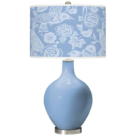 Placid Blue Aviary Ovo Glass Table Lamp