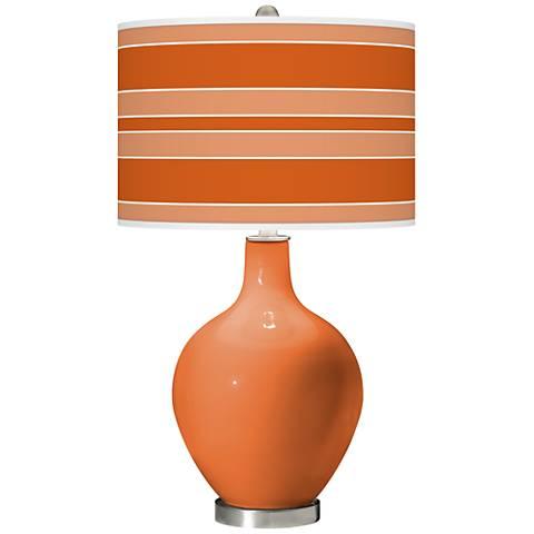 Celosia Orange Bold Stripe Ovo Glass Table Lamp