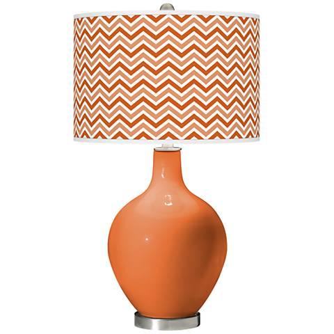 Celosia Orange Narrow Zig Zag Ovo Glass Table Lamp