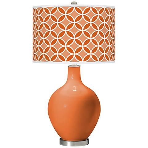 Celosia Orange Circle Rings Ovo Glass Table Lamp