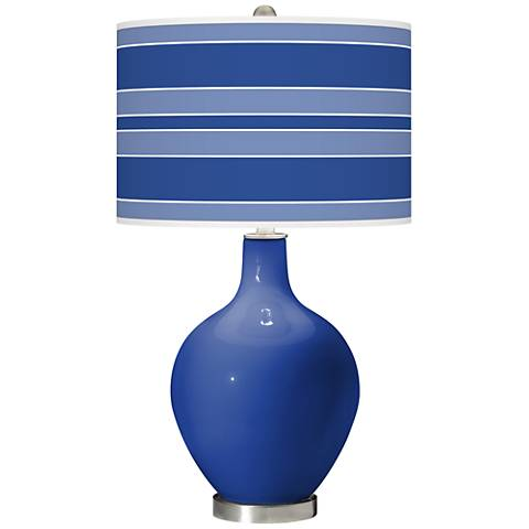 Dazzling Blue Bold Stripe Ovo Table Lamp