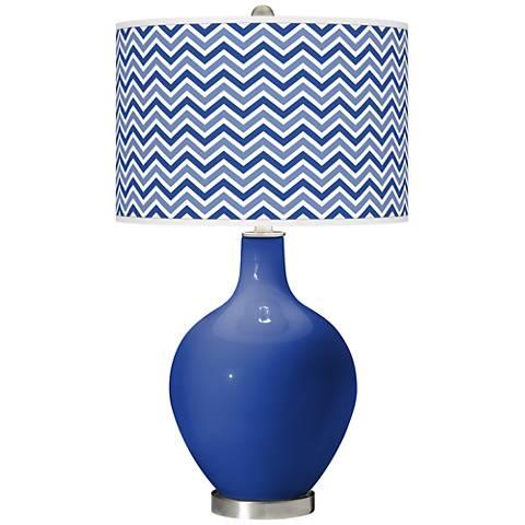 Dazzling Blue Narrow Zig Zag Ovo Glass Table Lamp