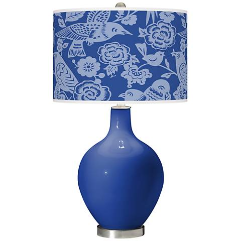 Dazzling Blue Aviary Ovo Glass Table Lamp