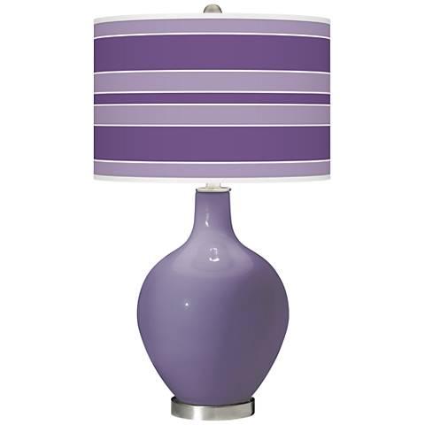 Purple Haze Bold Stripe Ovo Glass Table Lamp