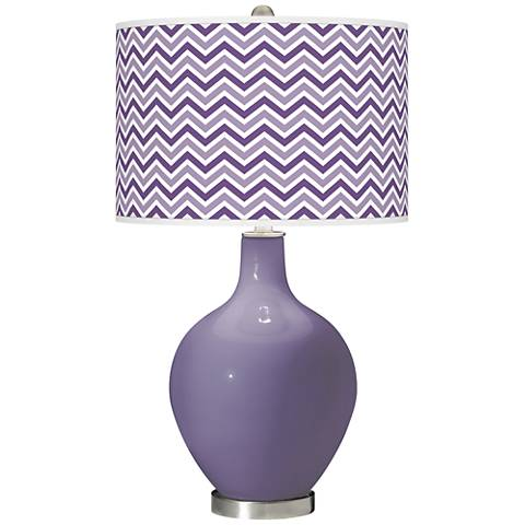 Purple Haze Narrow Zig Zag Ovo Glass Table Lamp
