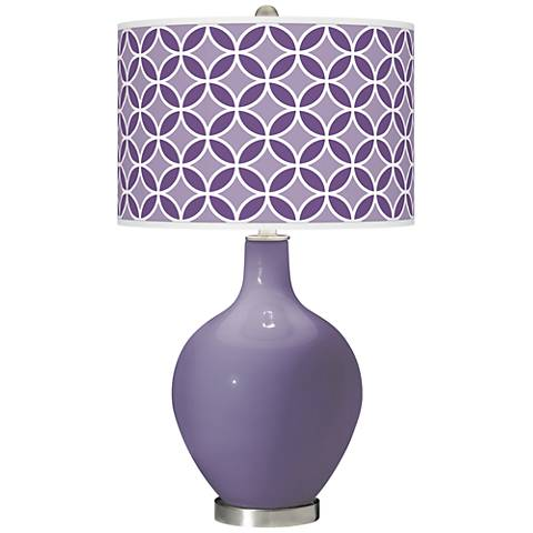 Purple Haze Circle Rings Ovo Glass Table Lamp