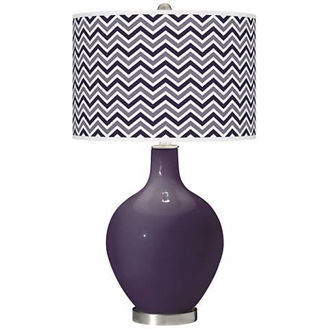 Quixotic Plum Narrow Zig Zag Ovo Glass Table Lamp