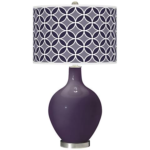 Quixotic Plum Circle Rings Ovo Glass Table Lamp