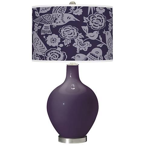 Quixotic Plum Aviary Ovo Glass Table Lamp