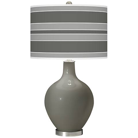 Gauntlet Gray Bold Stripe Ovo Glass Table Lamp