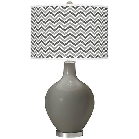 Gauntlet Gray Narrow Zig Zag Ovo Glass Table Lamp