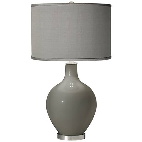 Gauntlet Gray - Gray Faux Silk Shade Ovo Table Lamp