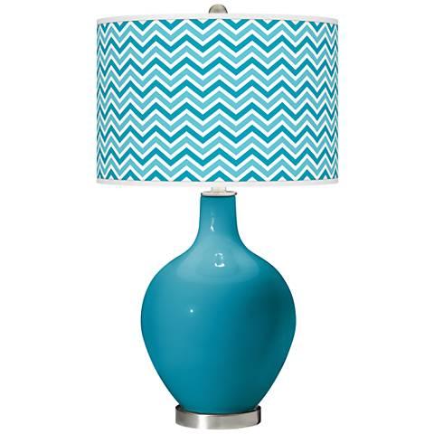 Caribbean Sea Narrow Zig Zag Ovo Glass Table Lamp