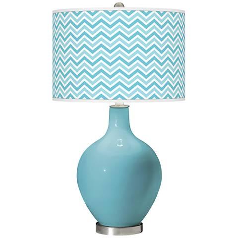 Nautilus Narrow Zig Zag Ovo Glass Table Lamp