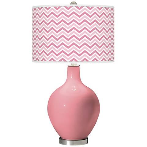 Haute Pink Narrow Zig Zag Ovo Glass Table Lamp