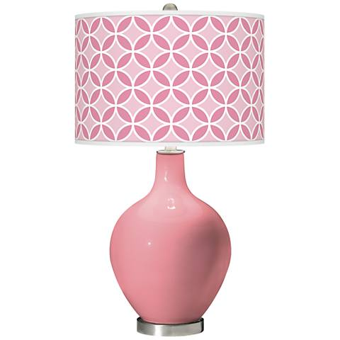 Haute Pink Circle Rings Ovo Glass Table Lamp