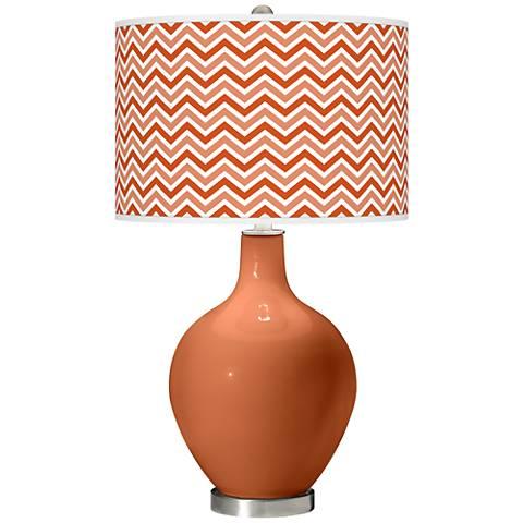 Robust Orange Narrow Zig Zag Ovo Glass Table Lamp