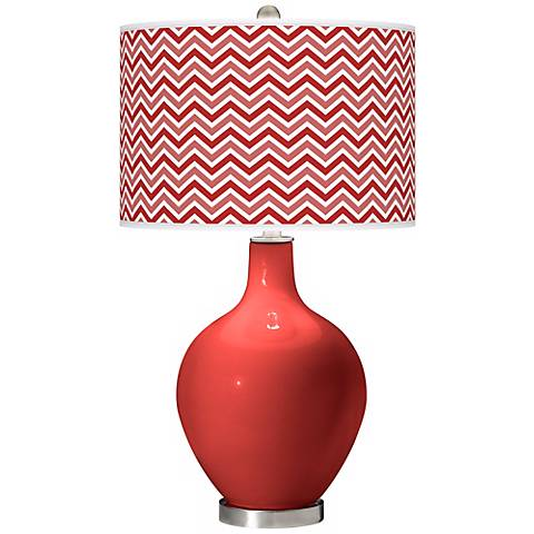 Cherry Tomato Narrow Zig Zag Ovo Table Lamp