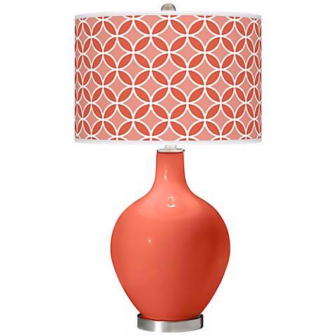 Daring Orange Circle Rings Ovo Table Lamp