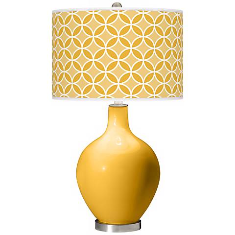 Goldenrod Circle Rings Ovo Table Lamp