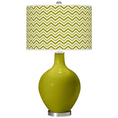 Olive Green Narrow Zig Zag Ovo Table Lamp