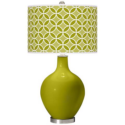 Olive Green Circle Rings Ovo Table Lamp