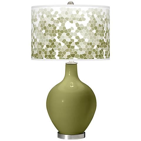 Rural Green Mosaic Giclee Ovo Table Lamp