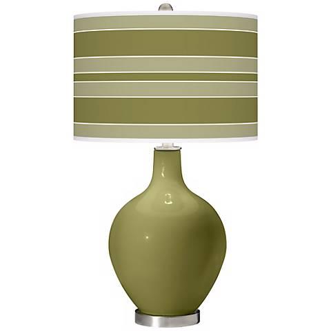 Rural Green Bold Stripe Ovo Table Lamp