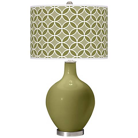 Rural Green Circle Rings Ovo Table Lamp